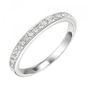 RINGS - 10K White Gold .12cttw Bead Set Diamond Stackable Ring