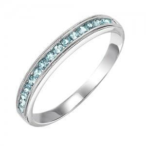 RINGS - 10k White Gold Blue Topaz Channel Set Birthstone Ring