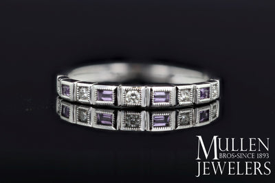 RINGS - 10k White Gold Diamond And Emerald Cut Amethyst Birthstone Ring