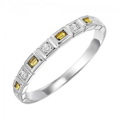 RINGS - 10k White Gold Diamond And Emerald Cut Citrine Birthstone Ring