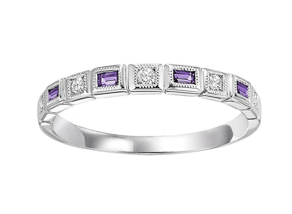 10k White Gold Diamond And Emerald Cut Created Alexandrite