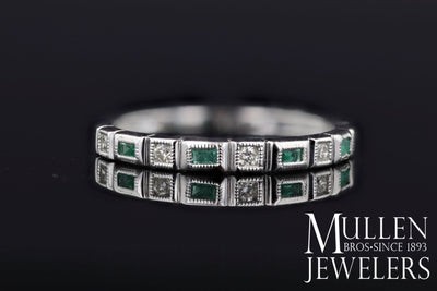RINGS - 10k White Gold Diamond And Emerald Cut Emerald Birthstone Ring