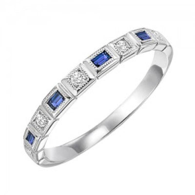 RINGS - 10k White Gold Diamond And Emerald Cut Sapphire Birthstone Ring