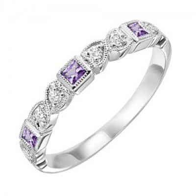 RINGS - 10k White Gold Diamond And Square Amethyst Birthstone Ring