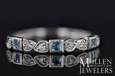 RINGS - 10k White Gold Diamond And Square Aquamarine Birthstone Ring