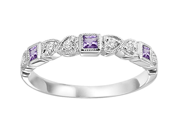 10k White Gold Diamond And Square Created Alexandrite