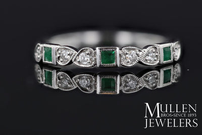 RINGS - 10k White Gold Diamond And Square Emerald Birthstone Ring