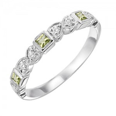RINGS - 10k White Gold Diamond And Square Peridot Channel Set Birthstone Ring