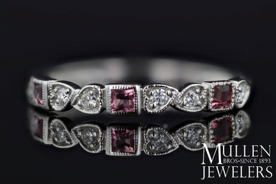 RINGS - 10k White Gold Diamond And Square Pink Tourmaline Birthstone Ring