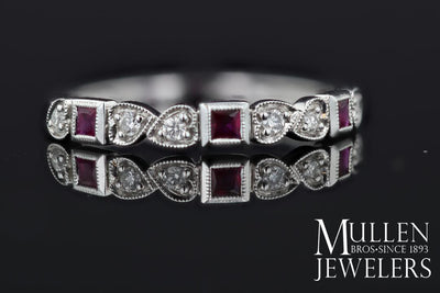 RINGS - 10k White Gold Diamond And Square Ruby Birthstone Ring