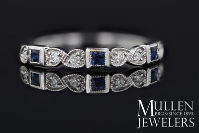 RINGS - 10k White Gold Diamond And Square Sapphire Birthstone Ring