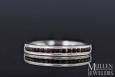 RINGS - 10k White Gold Garnet Channel Set Birthstone Ring