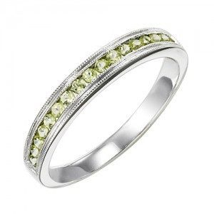 RINGS - 10k White Gold Peridot Channel Set Birthstone Ring