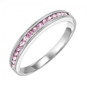 RINGS - 10k White Gold Pink Tourmaline Channel Set Birthstone Ring
