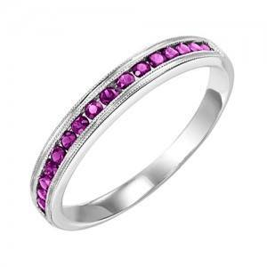 RINGS - 10k White Gold Ruby Channel Set Birthstone Ring