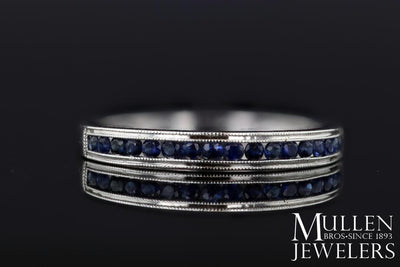 RINGS - 10k White Gold Sapphire Channel Set Birthstone Ring