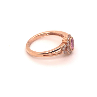 14K Rose Gold .45ct Oval Pink Sapphire Ring with Floral Diamond Halo and Accents