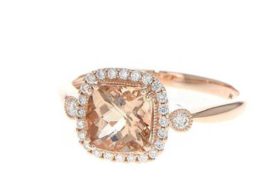 RINGS - 14K Rose Gold Cushion Cut Morganite And Diamond Halo Ring