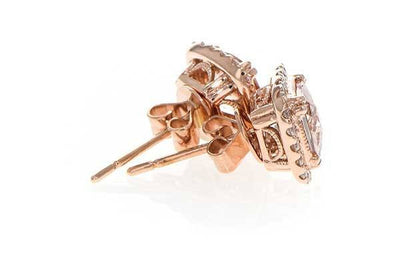 RINGS - 14K Rose Gold Cushion Cut Morganite And Diamond Halo Stud Earrings