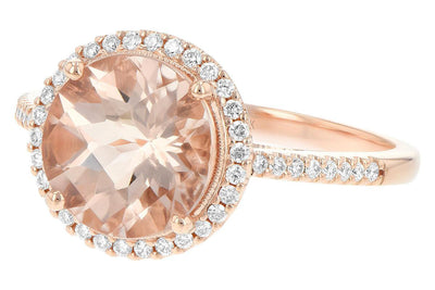 RINGS - 14K Rose Gold Morganite And Diamond Halo Ring