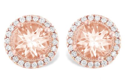 RINGS - 14K Rose Gold Morganite And Diamond Halo Stud Earrings