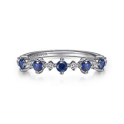 RINGS - 14K White Gold .08cttw Diamond And Sapphire Ring