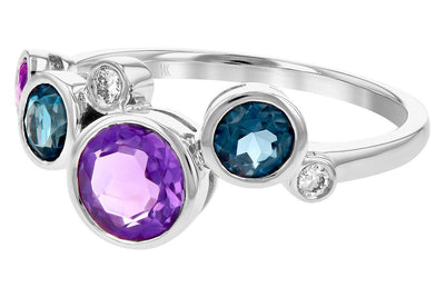 14K White Gold Blue Topaz, Amethyst and Diamond Bezel Set Bubble Ring