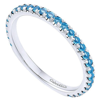 RINGS - 14K White Gold Blue Topaz Stackable Birthstone Ring