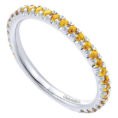 RINGS - 14K White Gold Citrine Stackable Birthstone Ring