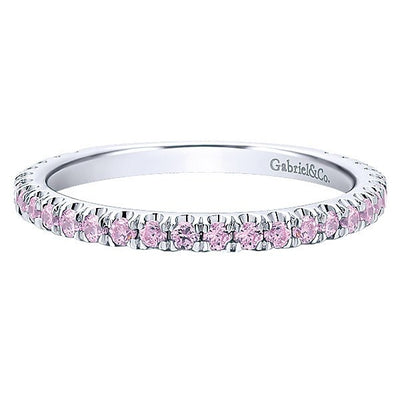 RINGS - 14K White Gold Created Pink Tourmaline Stackable Birthstone Ring