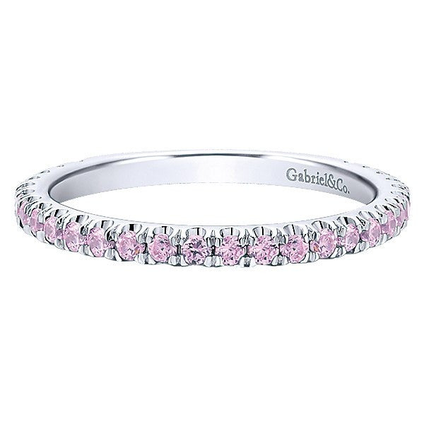 14k white gold created pink tourmaline stackable