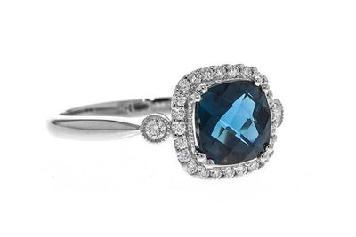RINGS - 14K White Gold Cushion Cut London Blue Topaz And Diamond Halo Ring