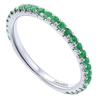 RINGS - 14K White Gold Emerald Stackable Birthstone Ring