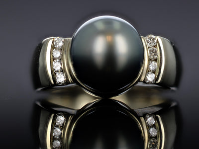 RINGS - 14k White Gold Estate Tahitian Pearl And Diamond Ring