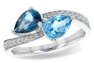 RINGS - 14K White Gold Ladies 2-Stone Pear Shaped Blue Topaz And Diamond Ring