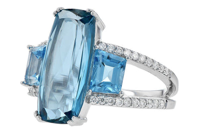 RINGS - 14K White Gold Multi-Color 3-Stone Blue Topaz And Diamond Statement Ring