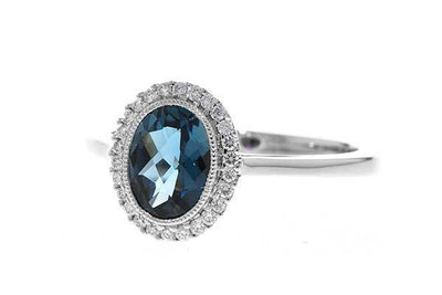RINGS - 14K White Gold Oval London Blue Topaz And Diamond Halo Ring