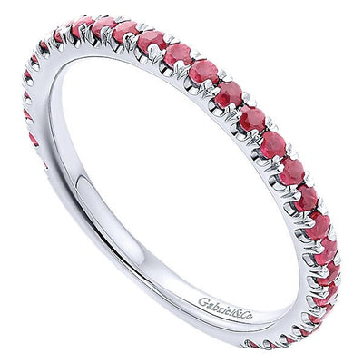 RINGS - 14K White Gold Ruby Stackable Birthstone Ring
