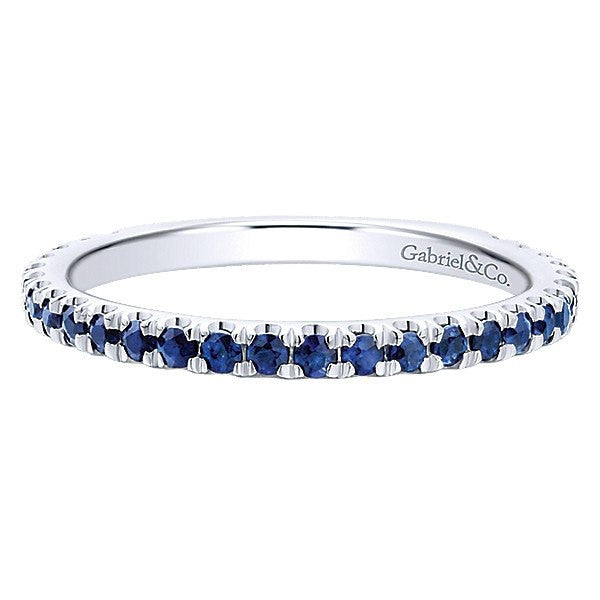 14k White Gold Sapphire Stackable Birthstone Ring Mullen