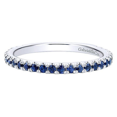 RINGS - 14K White Gold Sapphire Stackable Birthstone Ring
