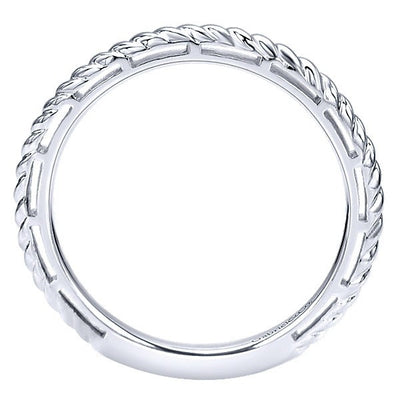 RINGS - 14K White Gold Stackable Ring With Roped Design