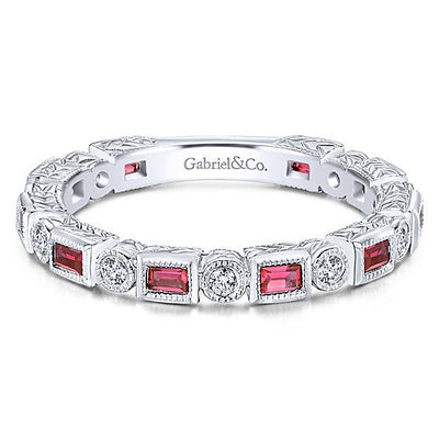 RINGS - 14K White Gold Vintage Diamond And Ruby Stackable Ring
