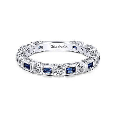 14K White Gold Vintage Diamond and Sapphire Stackable Ring