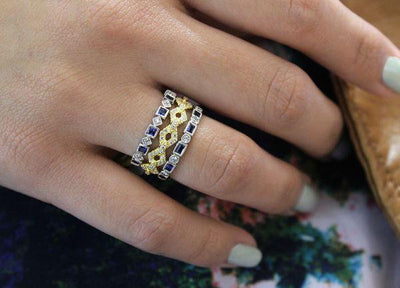 RINGS - 14K White Gold Vintage Diamond And Sapphire Stackable Ring