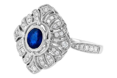 14K White Gold Vintage Inspired Blue Sapphire and Diamond Filigree Ring