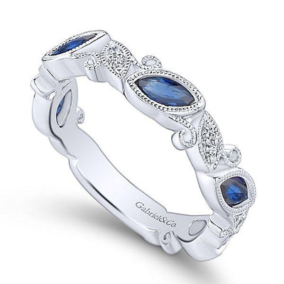 RINGS - 14K White Gold Vintage Marquise Shaped Diamond And Sapphire Stackable Ring