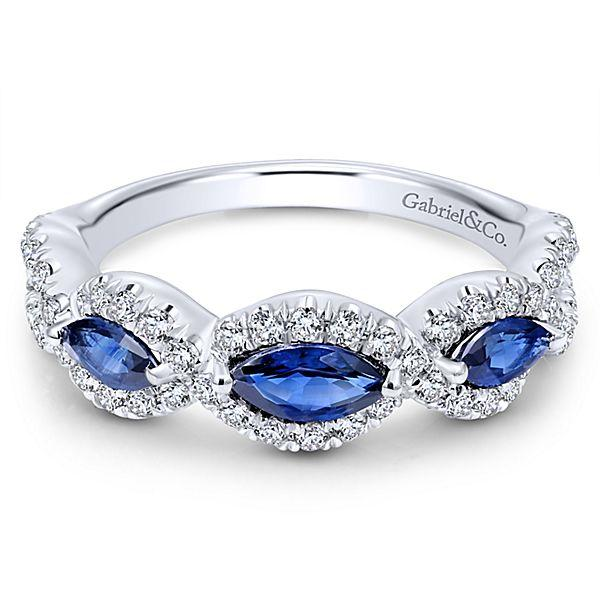 2e733882fd425 14K White Gold Vintage Marquise Shaped Halo Diamond and Sapphire Stackable  Ring