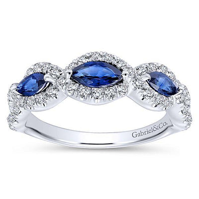 RINGS - 14K White Gold Vintage Marquise Shaped Halo Diamond And Sapphire Stackable Ring