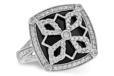 14K White Gold Vintage Style Onyx and Diamond Filigree Ring