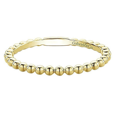 RINGS - 14K Yellow Gold Beaded Ball Design Stackable Band
